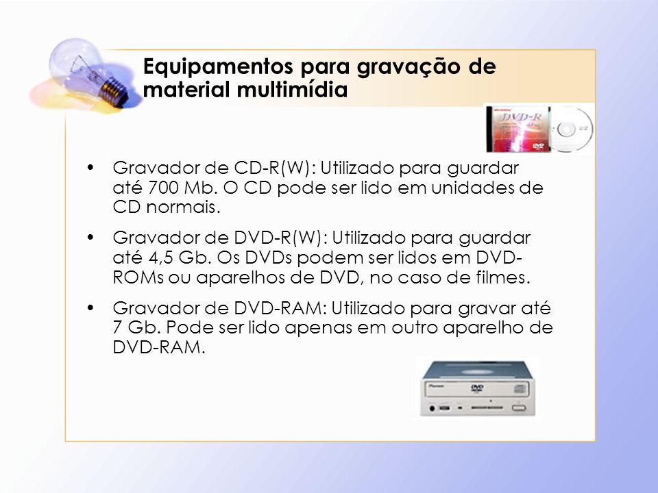 Equipamentos para gravação de material multimídia Gravador de CD-R(W): Utilizado para guardar até 700 Mb. O CD pode ser lido em unidades de CD normais