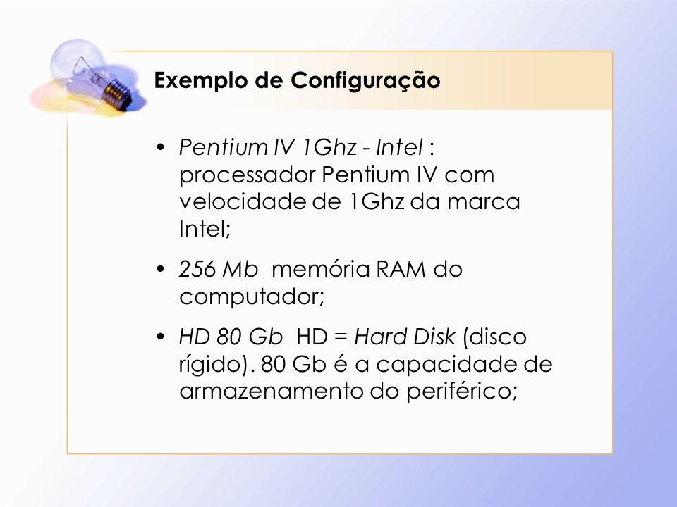 Exemplo de Configuração Pentium IV 1Ghz - Intel : processador Pentium IV com velocidade de 1Ghz da marca Intel; 256 Mb memória RAM do computador; HD 8