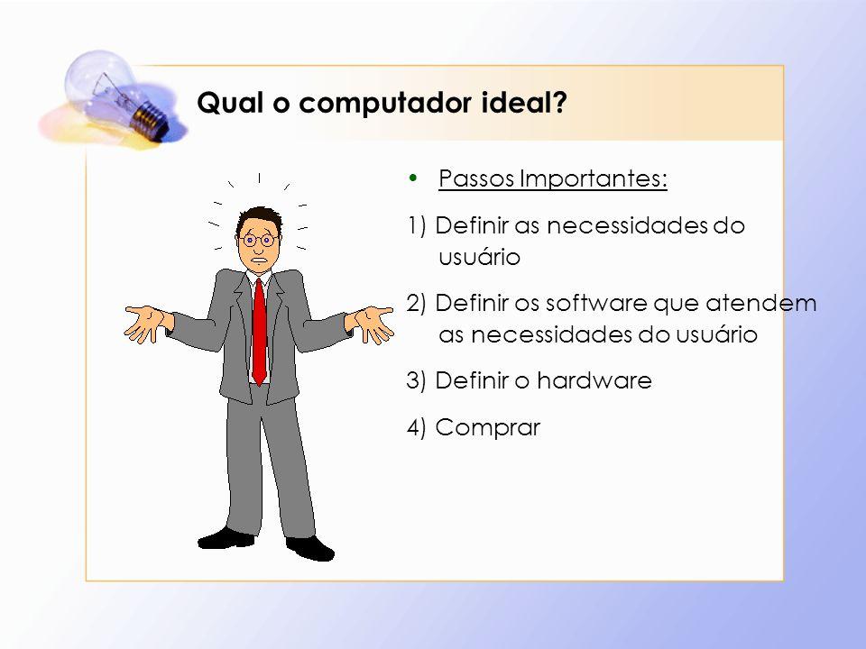 Qual o computador ideal? Passos Importantes: 1) Definir as necessidades do usuário 2) Definir os software que atendem as necessidades do usuário 3) De