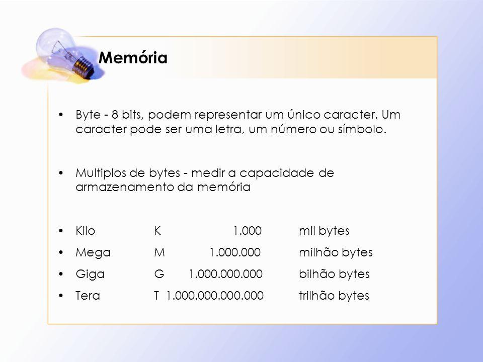 Memória Byte - 8 bits, podem representar um único caracter. Um caracter pode ser uma letra, um número ou símbolo. Multiplos de bytes - medir a capacid