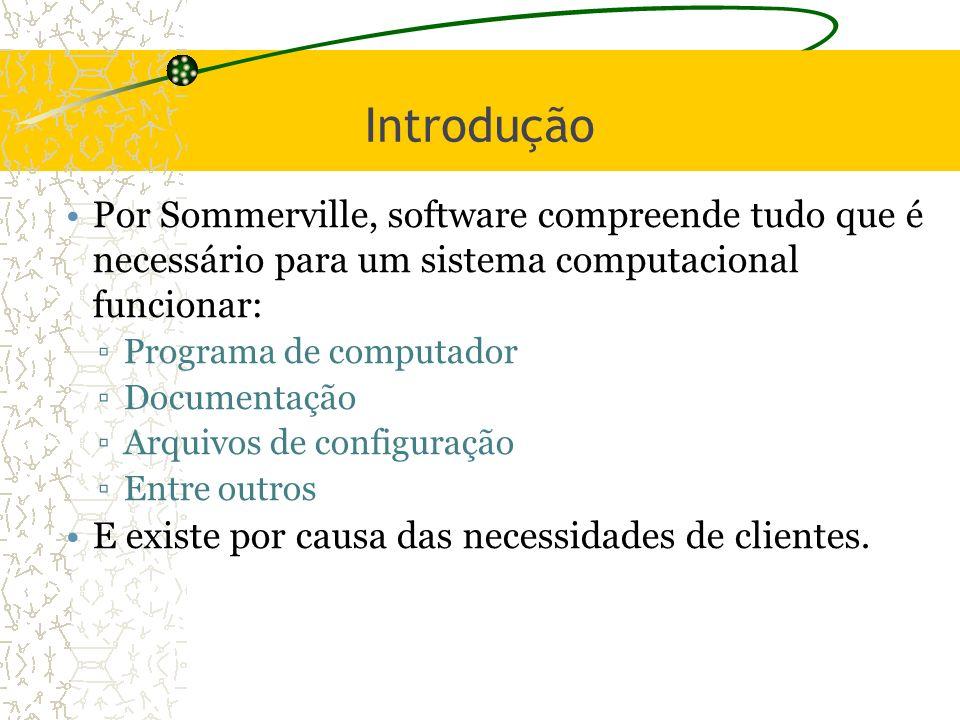 Introdução Por Sommerville, software compreende tudo que é necessário para um sistema computacional funcionar: Programa de computador Documentação Arq