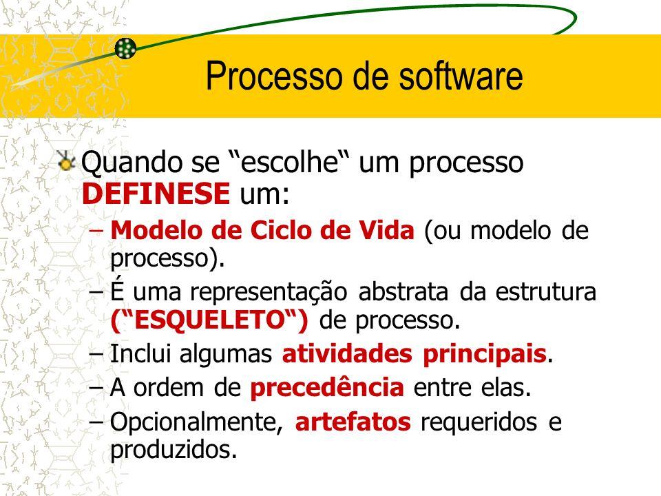 Processo de software Quando se escolhe um processo DEFINESE um: –Modelo de Ciclo de Vida (ou modelo de processo). –É uma representação abstrata da es