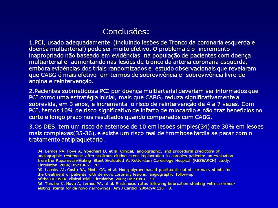 Conclusões: 1.PCI, usado adequadamente, (incluindo lesões de Tronco da coronaria esquerda e doenca multiarterial) pode ser muito efetivo.