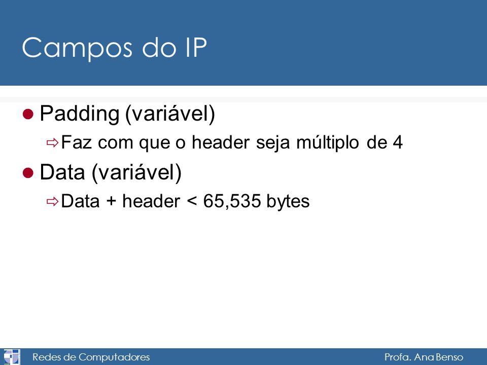 Redes de Computadores Profa. Ana Benso Campos do IP Padding (variável) Faz com que o header seja múltiplo de 4 Data (variável) Data + header < 65,535
