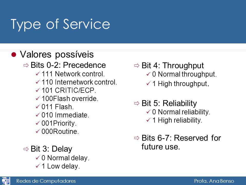 Redes de Computadores Profa. Ana Benso Type of Service Valores possíveis Bits 0-2: Precedence 111 Network control. 110 Internetwork control. 101 CRITI