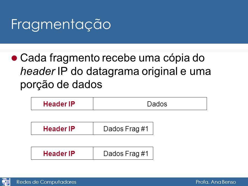 Redes de Computadores Profa. Ana Benso Fragmentação Cada fragmento recebe uma cópia do header IP do datagrama original e uma porção de dados Header IP