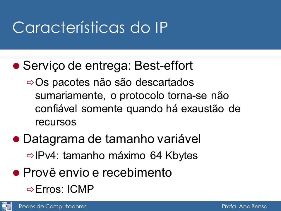 Redes de Computadores Profa. Ana Benso Características do IP Serviço de entrega: Best-effort Os pacotes não são descartados sumariamente, o protocolo