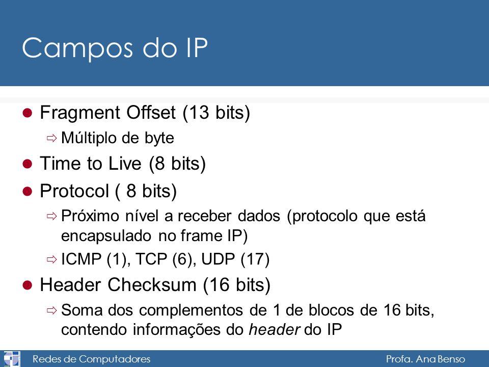 Redes de Computadores Profa. Ana Benso Campos do IP Fragment Offset (13 bits) Múltiplo de byte Time to Live (8 bits) Protocol ( 8 bits) Próximo nível