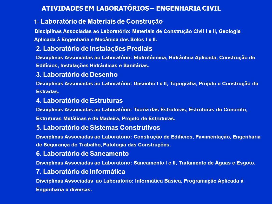 ATIVIDADES EM LABORATÓRIOS – ENGENHARIA CIVIL 1- Laboratório de Materiais de Construção Disciplinas Associadas ao Laboratório: Materiais de Construção