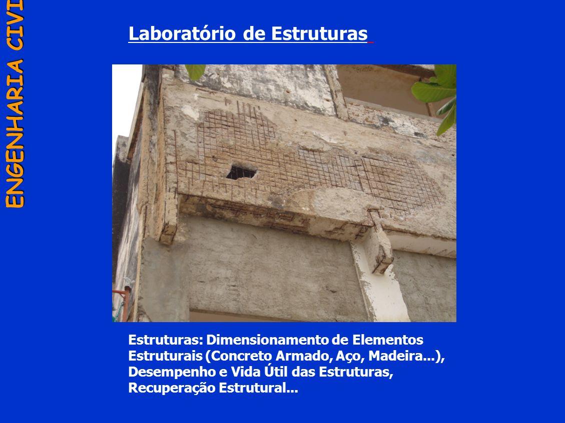Laboratório de Estruturas ENGENHARIA CIVIL Estruturas: Dimensionamento de Elementos Estruturais (Concreto Armado, Aço, Madeira...), Desempenho e Vida