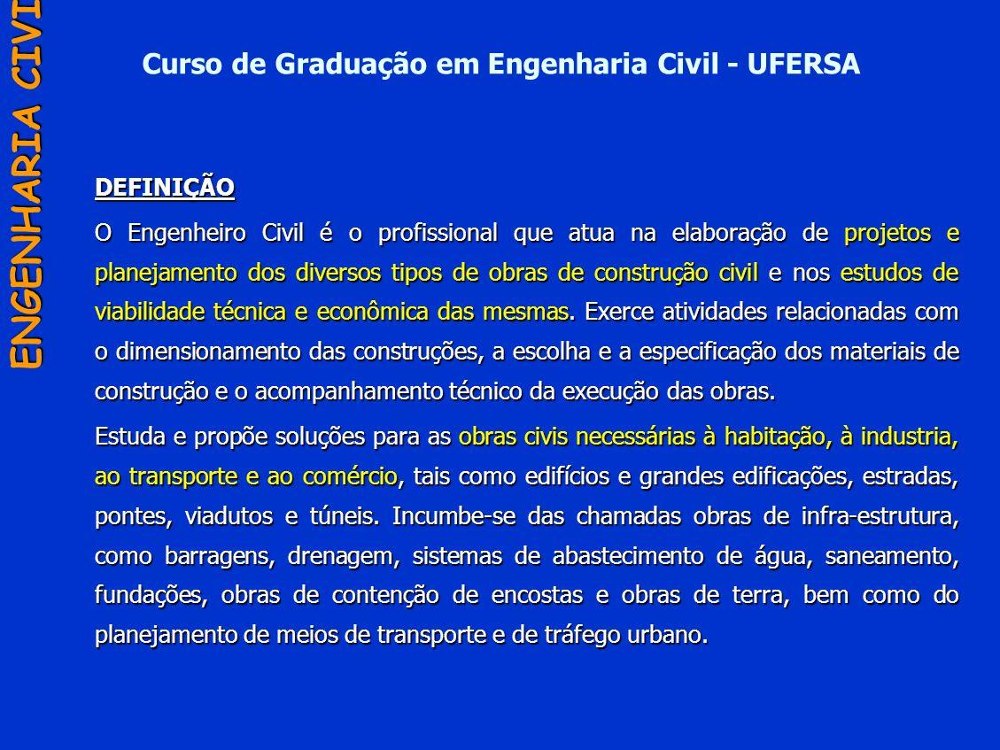 Curso de Graduação em Engenharia Civil - UFERSADEFINIÇÃO O Engenheiro Civil é o profissional que atua na elaboração de projetos e planejamento dos div