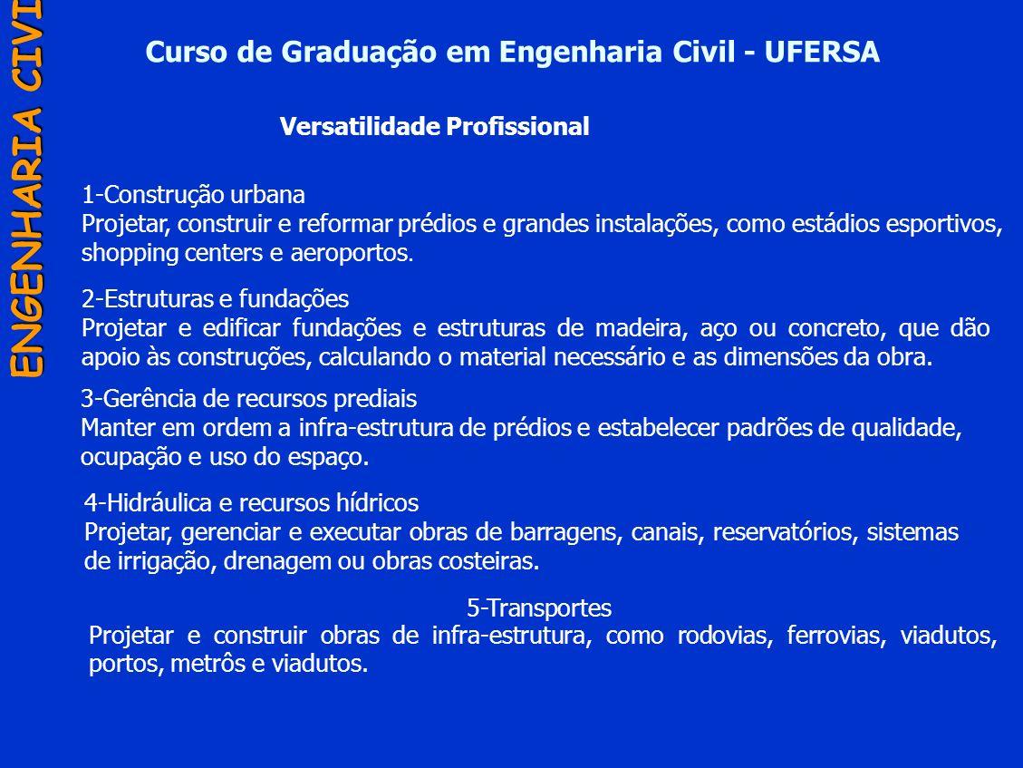 Curso de Graduação em Engenharia Civil - UFERSA ENGENHARIA CIVIL 5-Transportes Projetar e construir obras de infra-estrutura, como rodovias, ferrovias