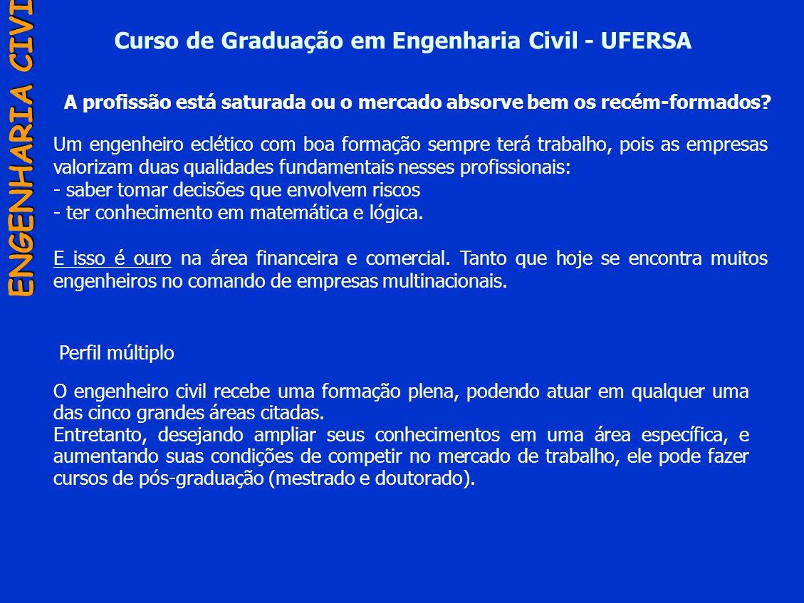 Curso de Graduação em Engenharia Civil - UFERSA ENGENHARIA CIVIL Um engenheiro eclético com boa formação sempre terá trabalho, pois as empresas valori
