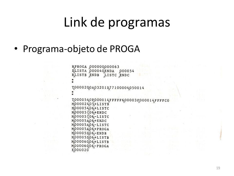 Link de programas Programa-objeto de PROGA 19