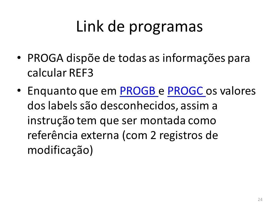 Link de programas PROGA dispõe de todas as informações para calcular REF3 Enquanto que em PROGB e PROGC os valores dos labels são desconhecidos, assim a instrução tem que ser montada como referência externa (com 2 registros de modificação)PROGB PROGC 24