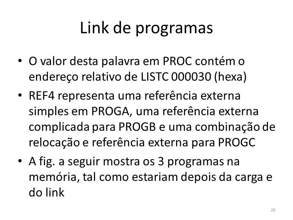 Link de programas O valor desta palavra em PROC contém o endereço relativo de LISTC 000030 (hexa) REF4 representa uma referência externa simples em PROGA, uma referência externa complicada para PROGB e uma combinação de relocação e referência externa para PROGC A fig.