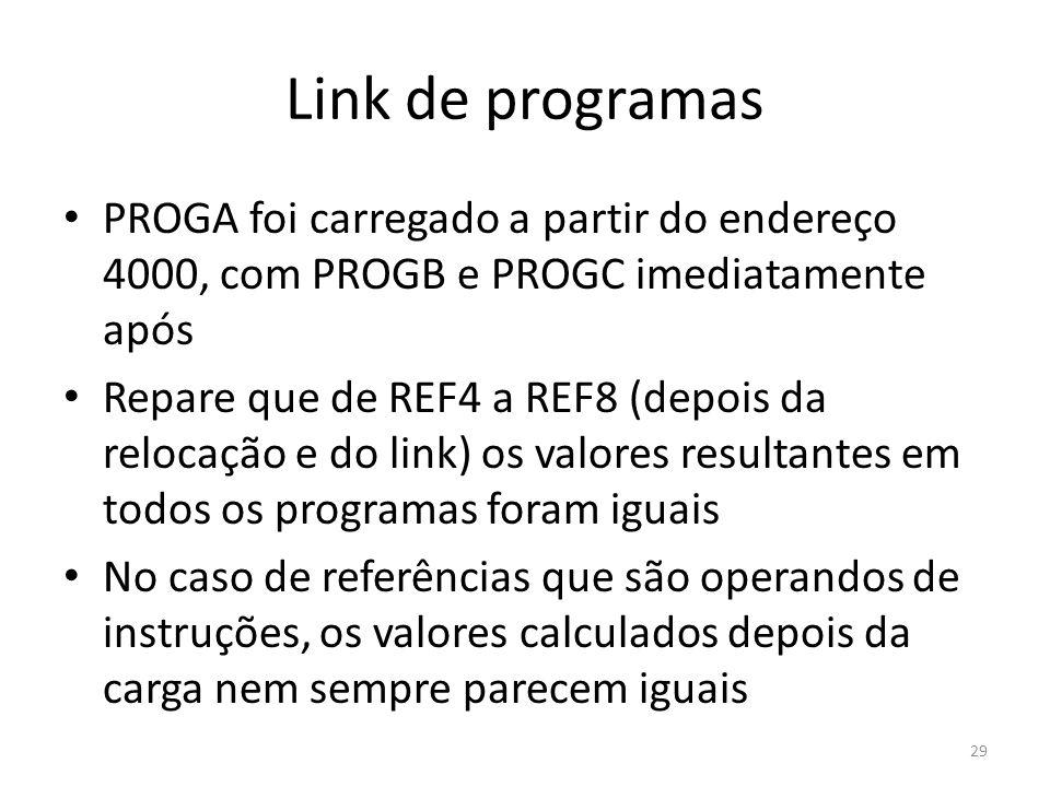 Link de programas PROGA foi carregado a partir do endereço 4000, com PROGB e PROGC imediatamente após Repare que de REF4 a REF8 (depois da relocação e do link) os valores resultantes em todos os programas foram iguais No caso de referências que são operandos de instruções, os valores calculados depois da carga nem sempre parecem iguais 29