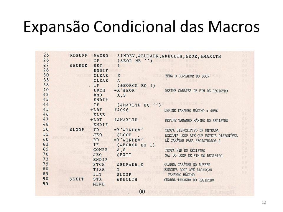 Expansão Condicional das Macros 12