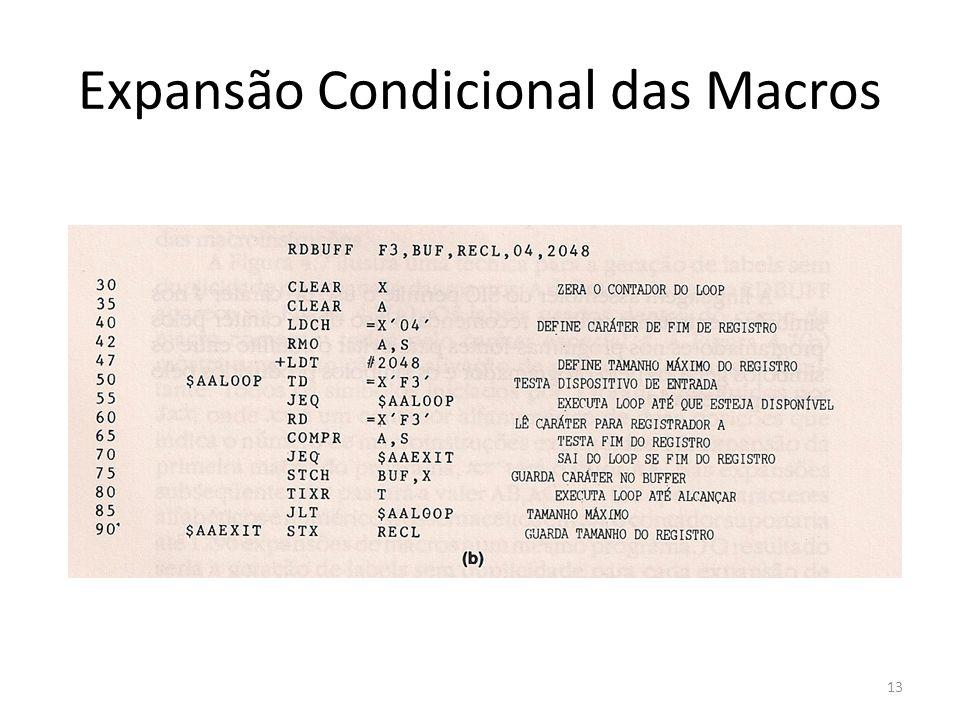 Expansão Condicional das Macros 13