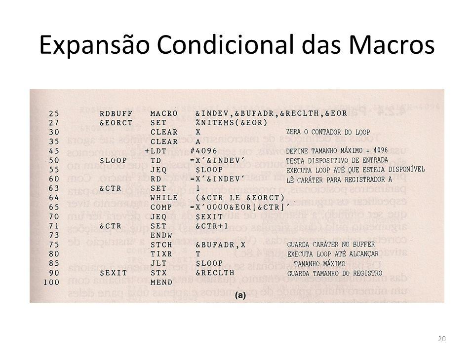 Expansão Condicional das Macros 20