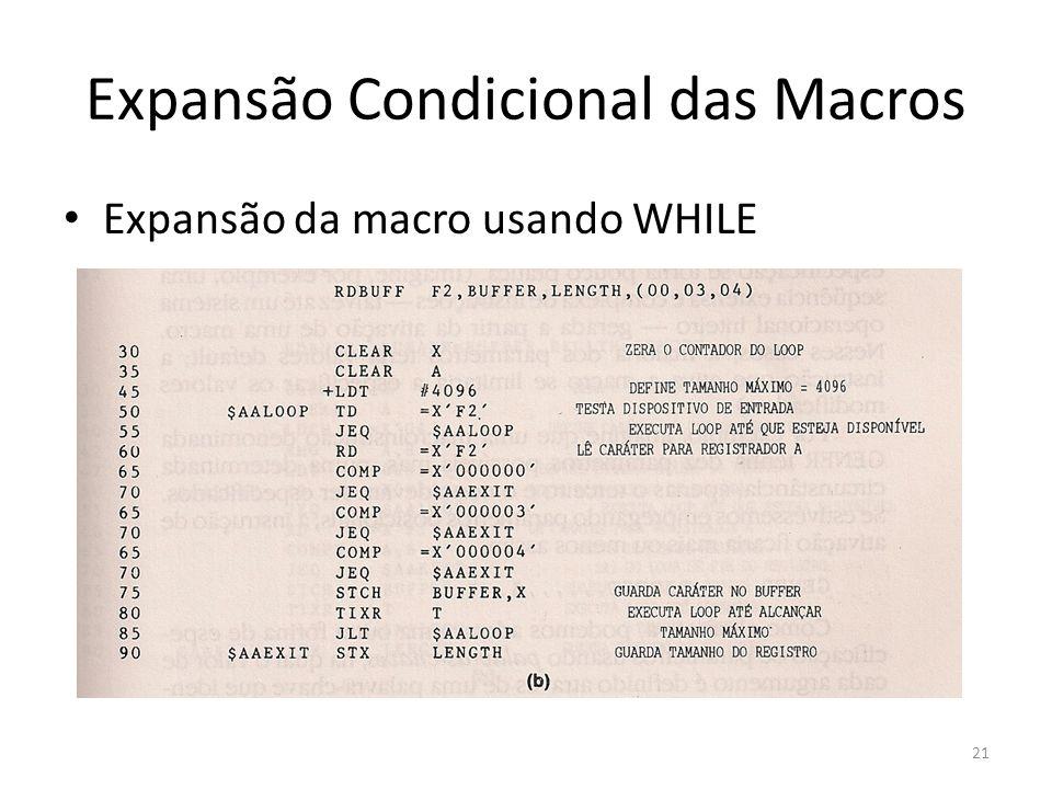 Expansão Condicional das Macros Expansão da macro usando WHILE 21