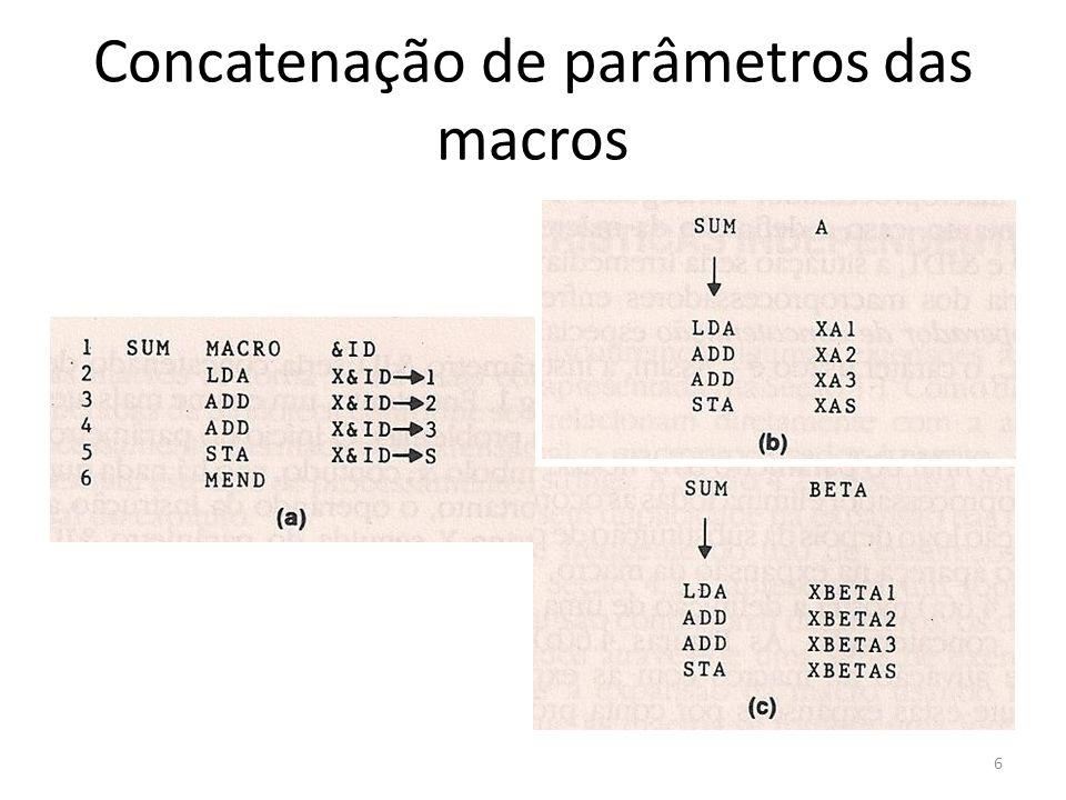 Concatenação de parâmetros das macros 6