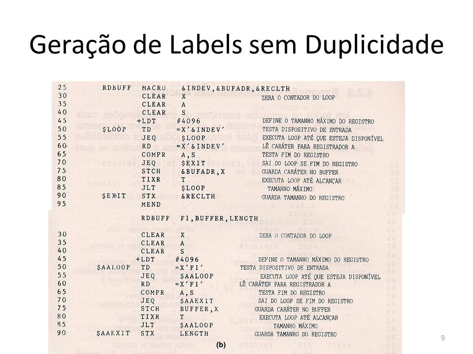 Geração de Labels sem Duplicidade 9