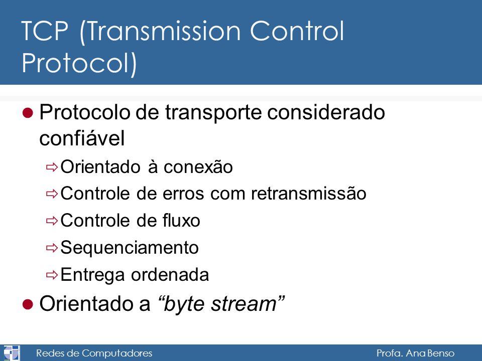 Redes de Computadores Profa. Ana Benso TCP (Transmission Control Protocol) Protocolo de transporte considerado confiável Orientado à conexão Controle