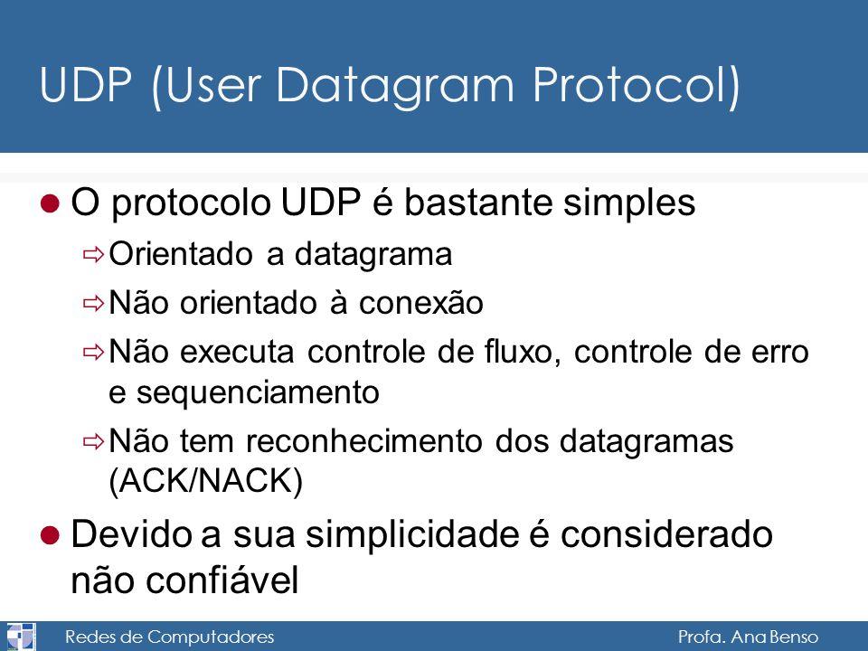 Redes de Computadores Profa. Ana Benso UDP (User Datagram Protocol) O protocolo UDP é bastante simples Orientado a datagrama Não orientado à conexão N