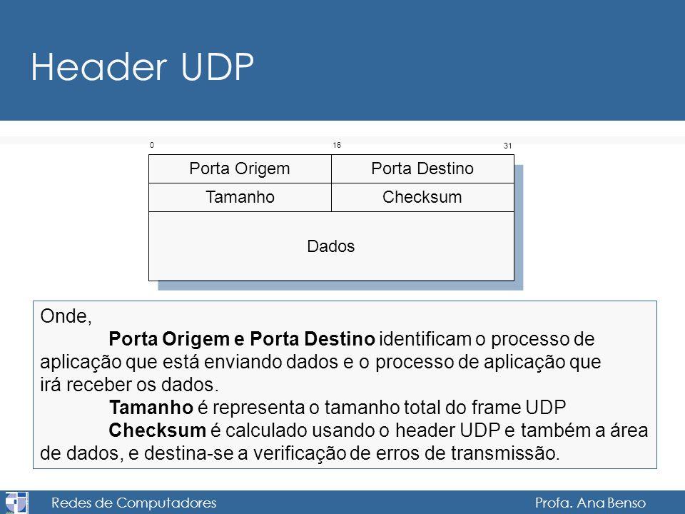 Redes de Computadores Profa. Ana Benso Header UDP Onde, Porta Origem e Porta Destino identificam o processo de aplicação que está enviando dados e o p