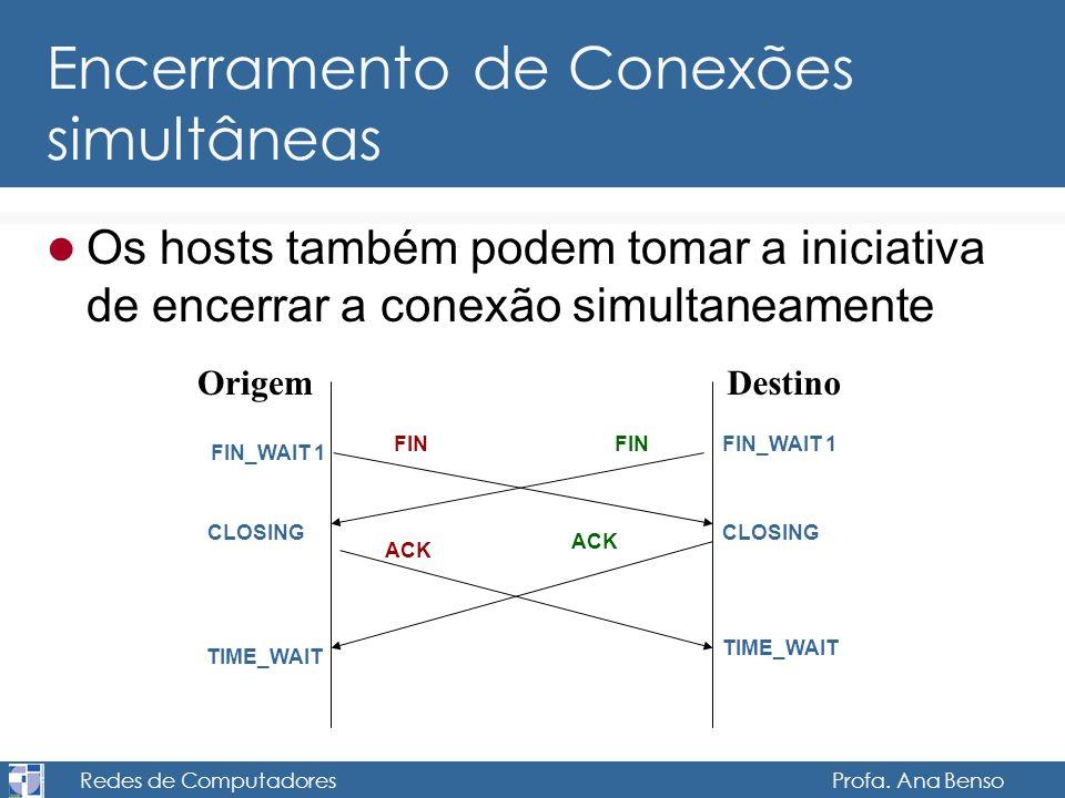 Redes de Computadores Profa. Ana Benso Encerramento de Conexões simultâneas Os hosts também podem tomar a iniciativa de encerrar a conexão simultaneam
