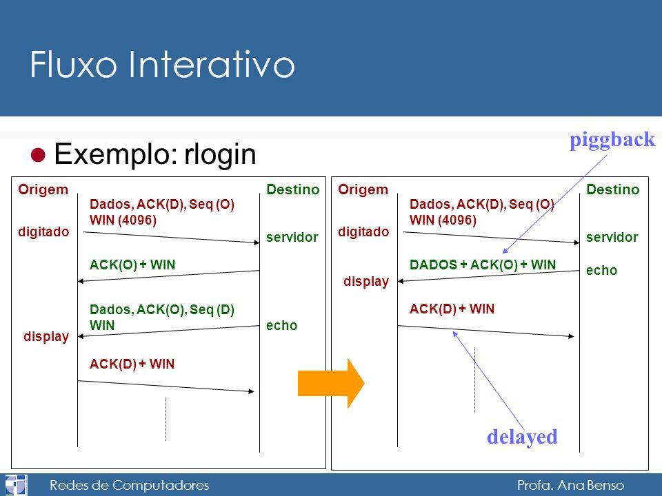 Redes de Computadores Profa. Ana Benso Fluxo Interativo Exemplo: rlogin DestinoOrigem Dados, ACK(D), Seq (O) WIN (4096) ACK(O) + WIN ACK(D) + WIN Dado