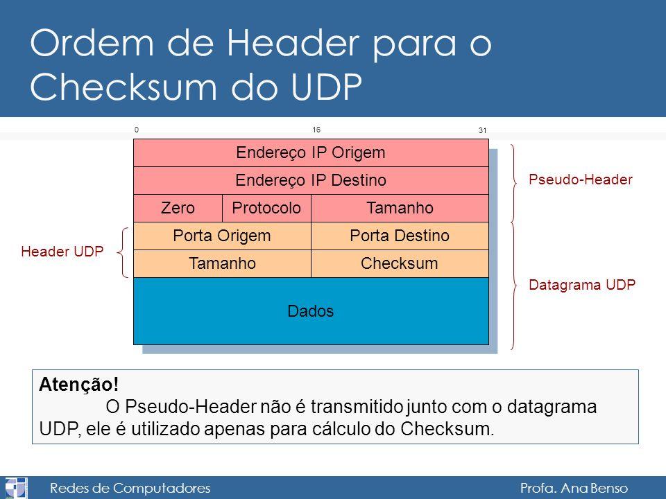 Redes de Computadores Profa. Ana Benso Ordem de Header para o Checksum do UDP Porta DestinoPorta Origem TamanhoChecksum Dados 016 31 Endereço IP Desti