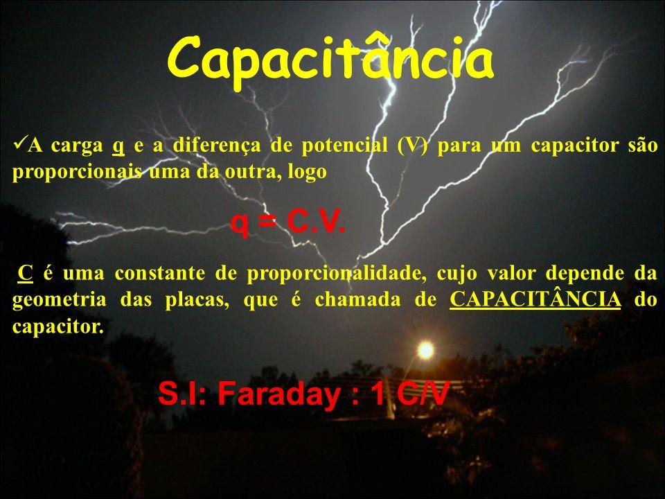Capacitância A carga q e a diferença de potencial (V) para um capacitor são proporcionais uma da outra, logo C é uma constante de proporcionalidade, c