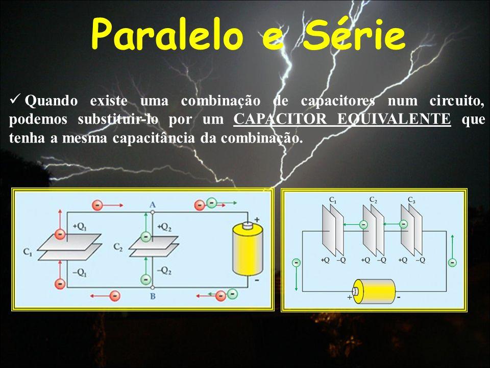 Paralelo e Série Quando existe uma combinação de capacitores num circuito, podemos substituir-lo por um CAPACITOR EQUIVALENTE que tenha a mesma capaci