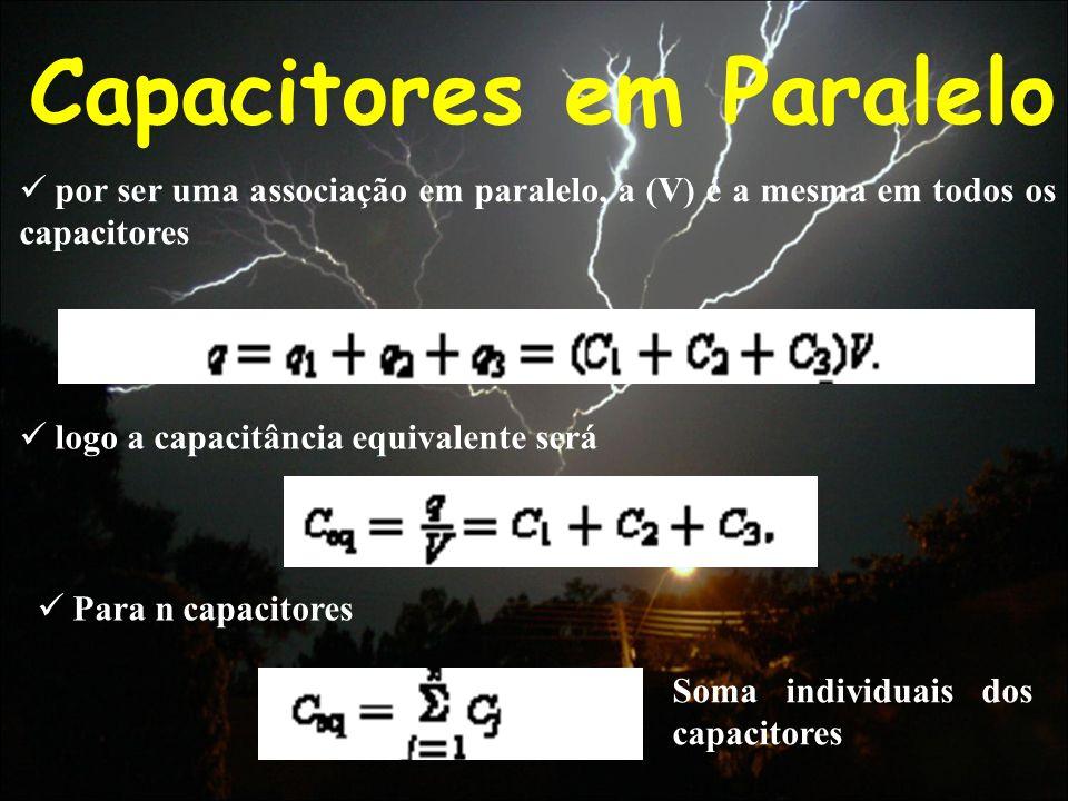 Capacitores em Paralelo por ser uma associação em paralelo, a (V) é a mesma em todos os capacitores logo a capacitância equivalente será Para n capaci