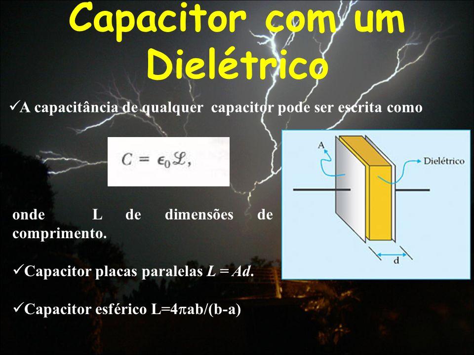Capacitor com um Dielétrico A capacitância de qualquer capacitor pode ser escrita como onde L de dimensões de comprimento. Capacitor placas paralelas