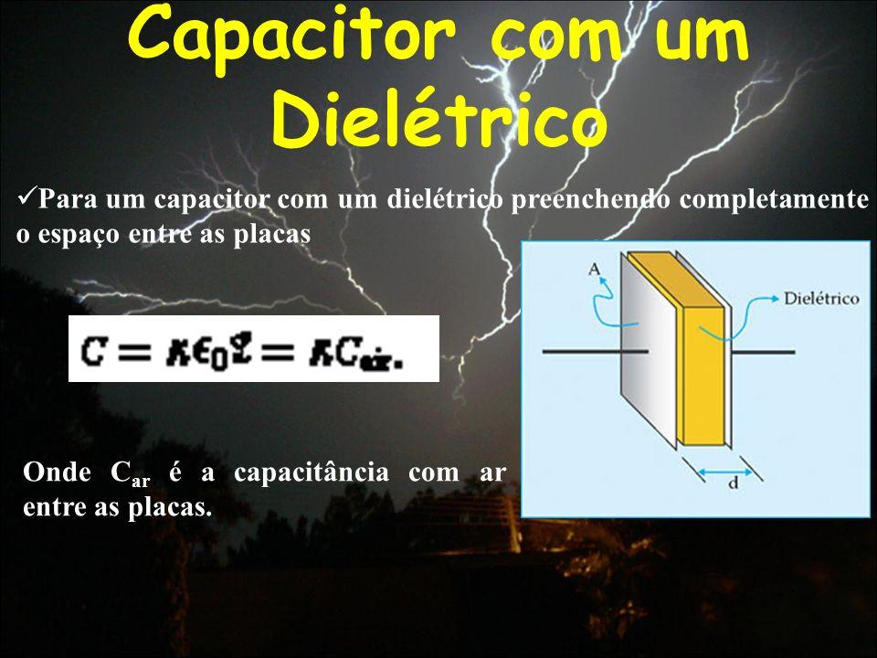 Capacitor com um Dielétrico Para um capacitor com um dielétrico preenchendo completamente o espaço entre as placas Onde C ar é a capacitância com ar e