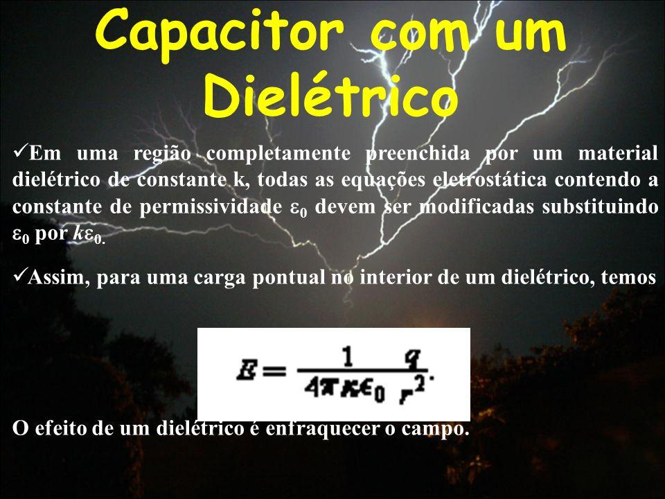Capacitor com um Dielétrico Em uma região completamente preenchida por um material dielétrico de constante k, todas as equações eletrostática contendo