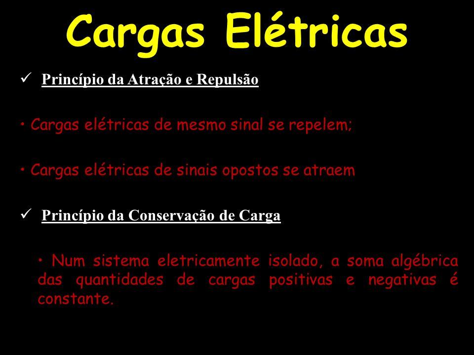 Cargas Elétricas Princípio da Atração e Repulsão Cargas elétricas de mesmo sinal se repelem; Cargas elétricas de sinais opostos se atraem Princípio da