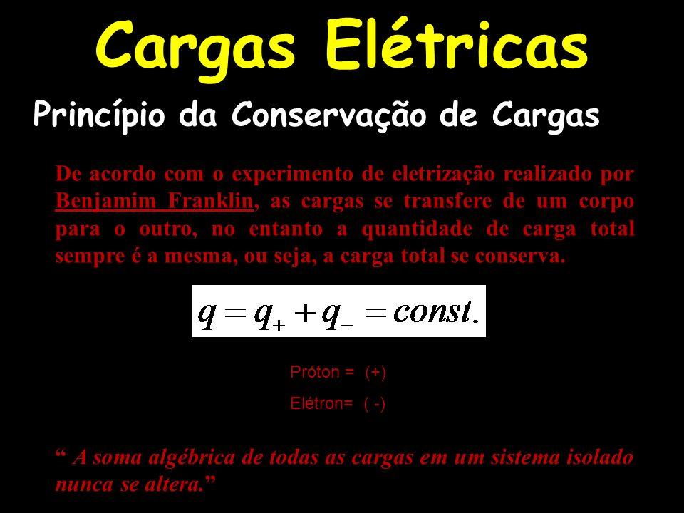 Cargas Elétricas De acordo com o experimento de eletrização realizado por Benjamim Franklin, as cargas se transfere de um corpo para o outro, no entan