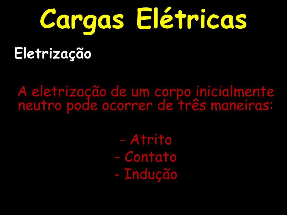 A eletrização de um corpo inicialmente neutro pode ocorrer de três maneiras: - Atrito - Contato - Indução Cargas Elétricas Eletrização