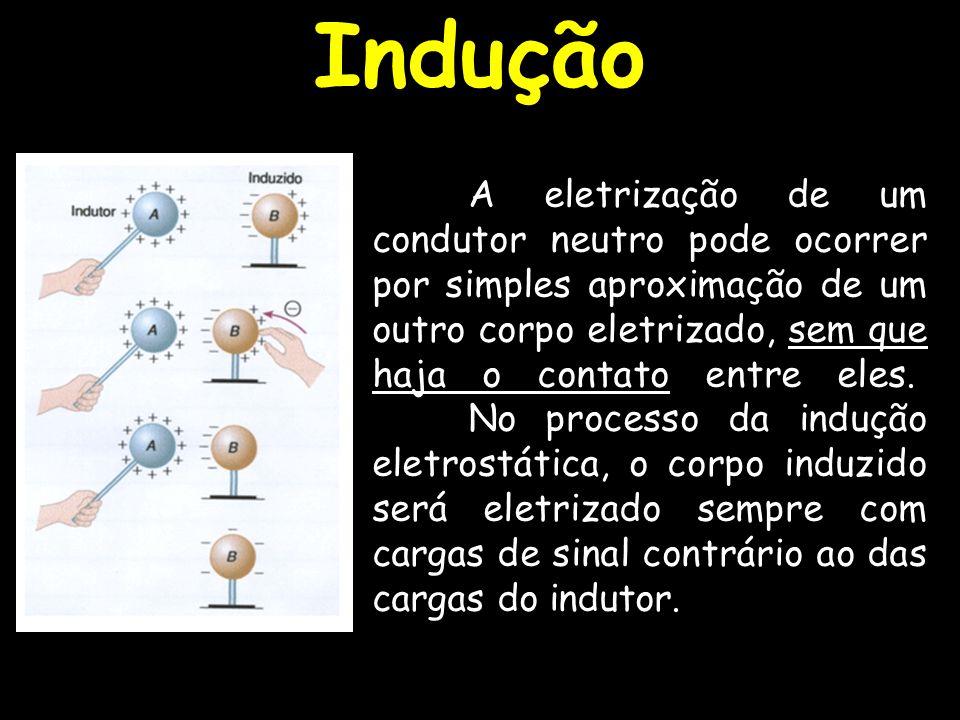 A eletrização de um condutor neutro pode ocorrer por simples aproximação de um outro corpo eletrizado, sem que haja o contato entre eles. No processo