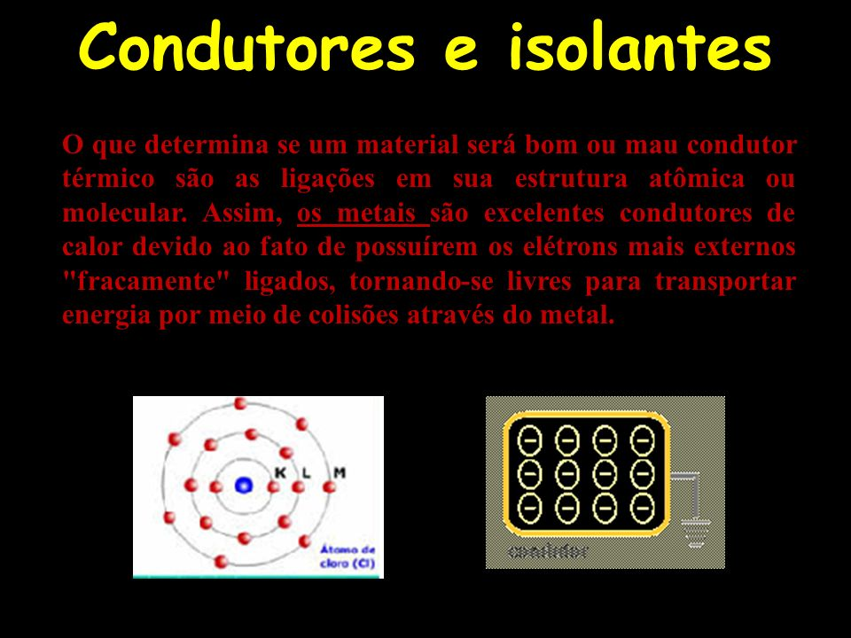 O que determina se um material será bom ou mau condutor térmico são as ligações em sua estrutura atômica ou molecular. Assim, os metais são excelentes