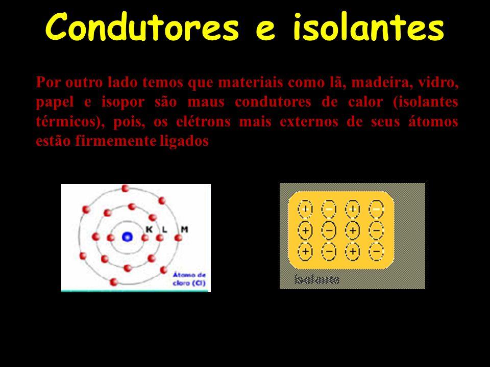 Condutores e isolantes Por outro lado temos que materiais como lã, madeira, vidro, papel e isopor são maus condutores de calor (isolantes térmicos), p