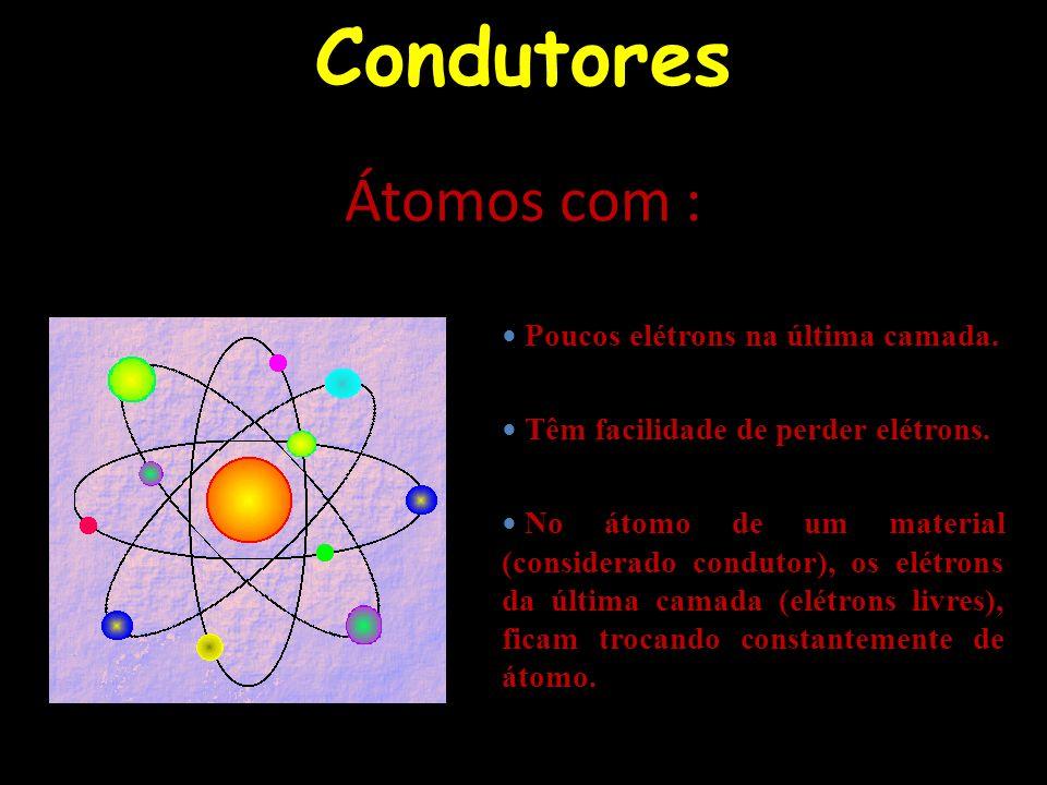 Condutores Átomos com : Poucos elétrons na última camada. Têm facilidade de perder elétrons. No átomo de um material (considerado condutor), os elétro