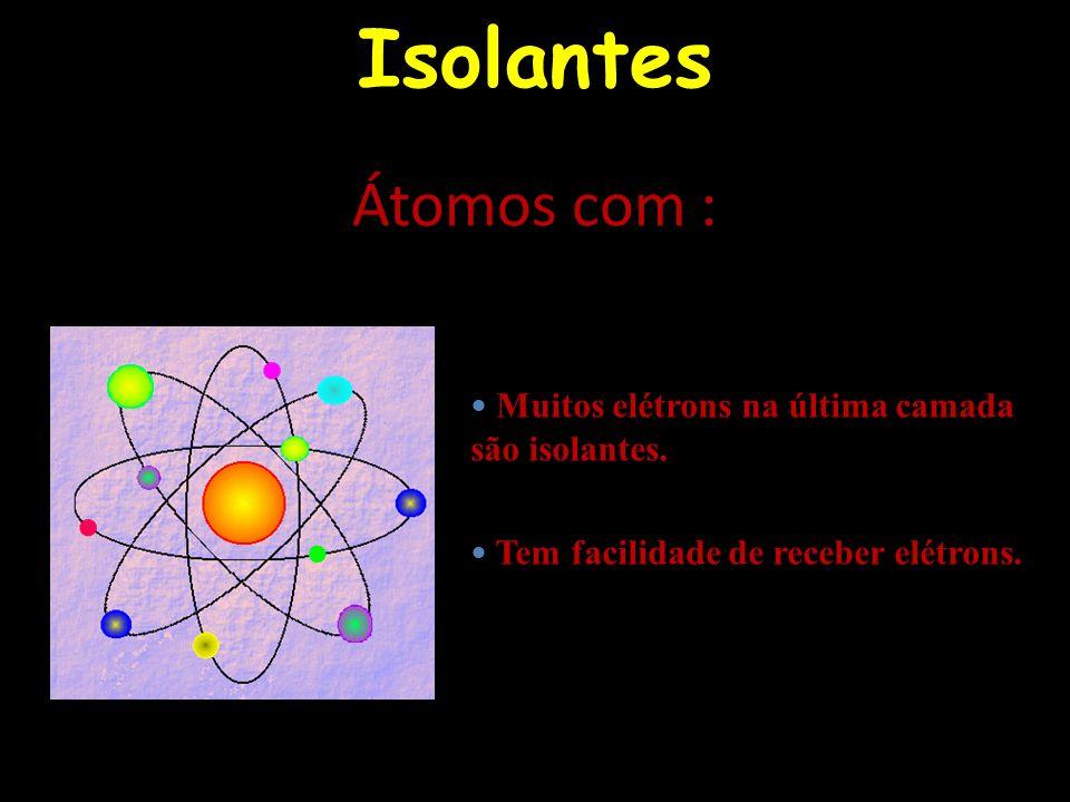 Isolantes Muitos elétrons na última camada são isolantes. Tem facilidade de receber elétrons. Átomos com :