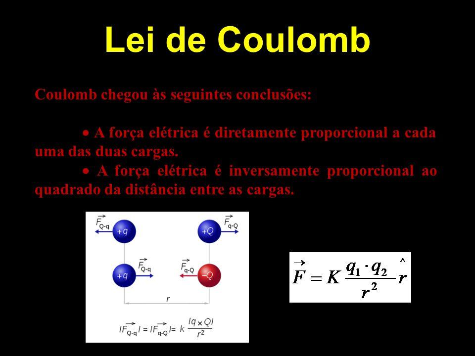 Lei de Coulomb Coulomb chegou às seguintes conclusões: A força elétrica é diretamente proporcional a cada uma das duas cargas. A força elétrica é inve