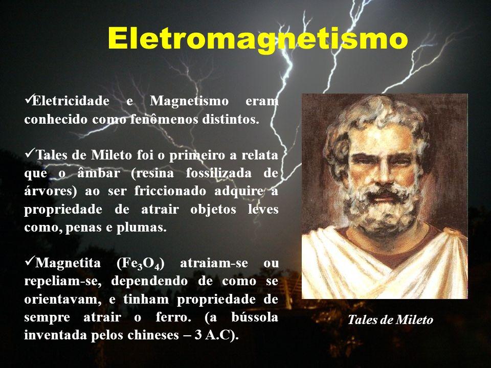 Eletromagnetismo Eletricidade e Magnetismo eram conhecido como fenômenos distintos. Tales de Mileto foi o primeiro a relata que o âmbar (resina fossil