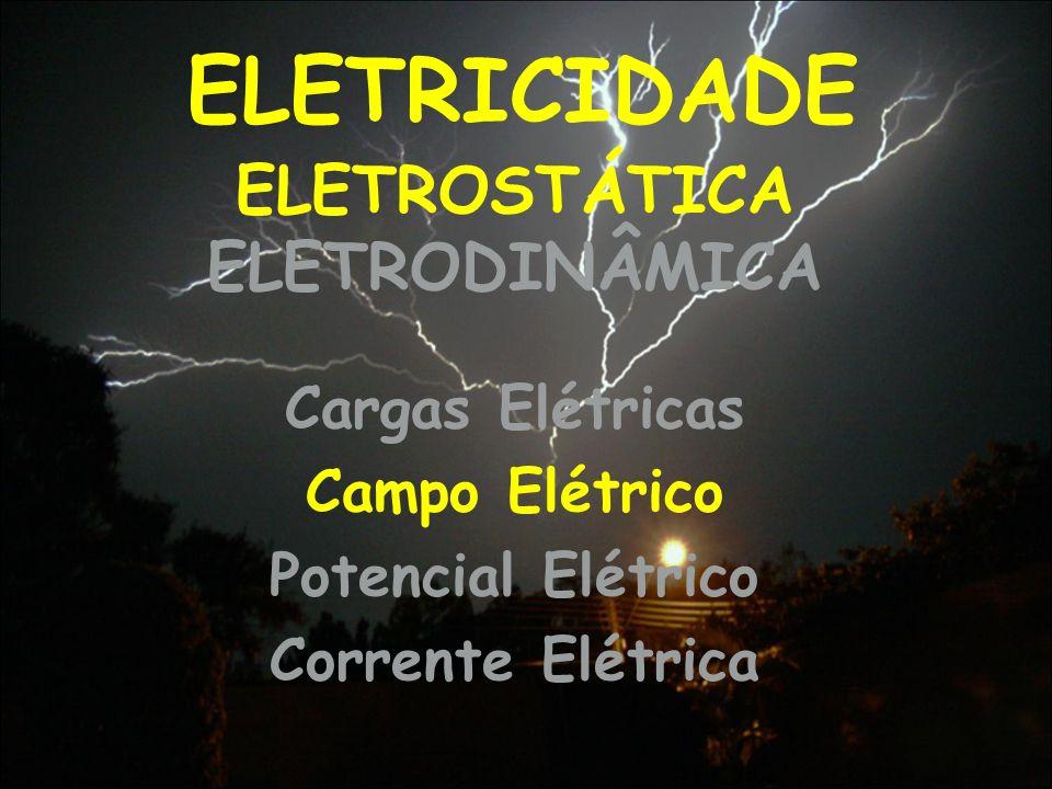 ELETRICIDADE Cargas Elétricas Campo Elétrico Potencial Elétrico Corrente Elétrica ELETROSTÁTICA ELETRODINÂMICA